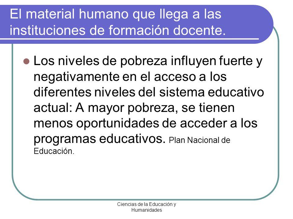 Ciencias de la Educación y Humanidades Los niveles de pobreza influyen fuerte y negativamente en el acceso a los diferentes niveles del sistema educat