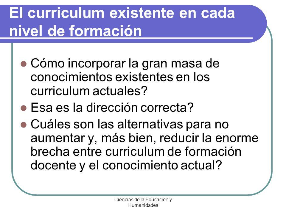 Ciencias de la Educación y Humanidades El curriculum existente en cada nivel de formación Cómo incorporar la gran masa de conocimientos existentes en