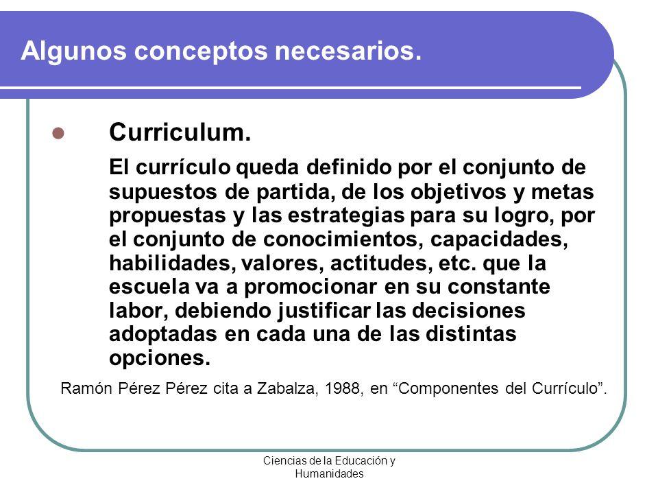 Ciencias de la Educación y Humanidades Curriculum. El currículo queda definido por el conjunto de supuestos de partida, de los objetivos y metas propu