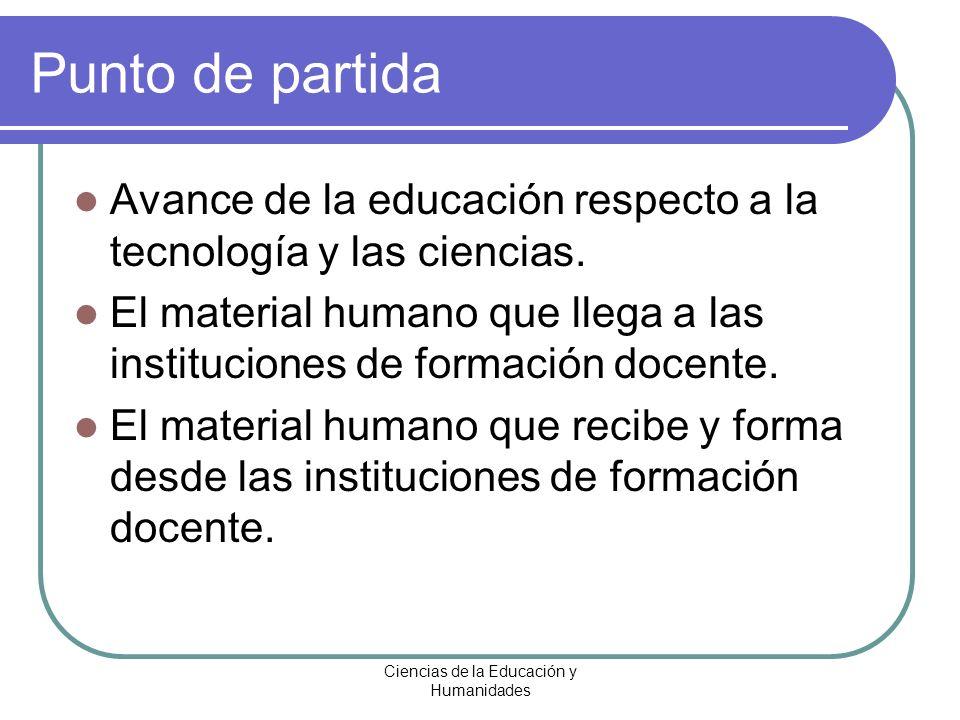 Ciencias de la Educación y Humanidades Punto de partida Avance de la educación respecto a la tecnología y las ciencias. El material humano que llega a
