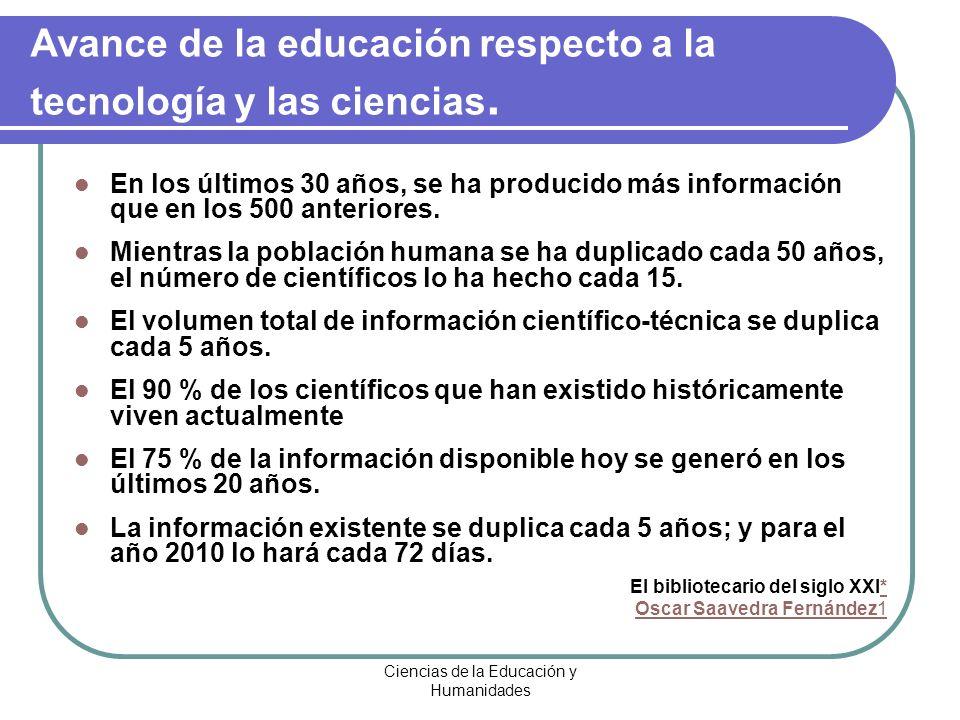 Ciencias de la Educación y Humanidades Avance de la educación respecto a la tecnología y las ciencias. En los últimos 30 años, se ha producido más inf