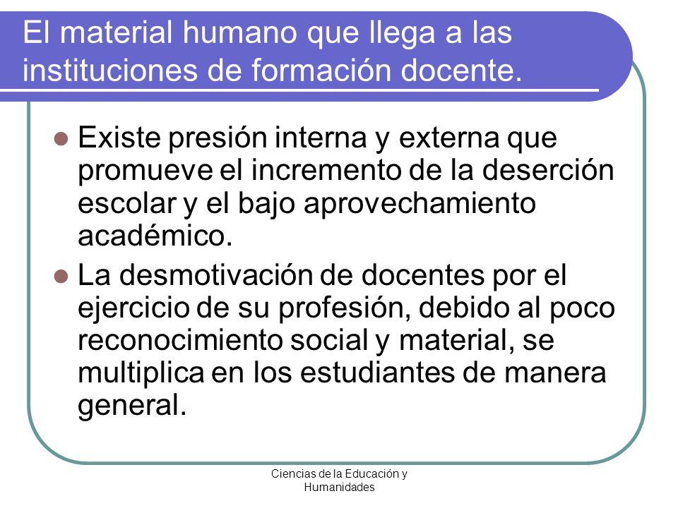 Ciencias de la Educación y Humanidades Existe presión interna y externa que promueve el incremento de la deserción escolar y el bajo aprovechamiento a