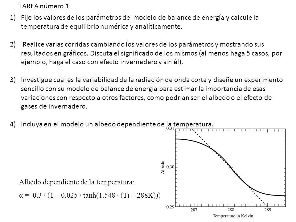 1)Fije los valores de los parámetros del modelo de balance de energía y calcule la temperatura de equilibrio numérica y analíticamente. 2) Realice var
