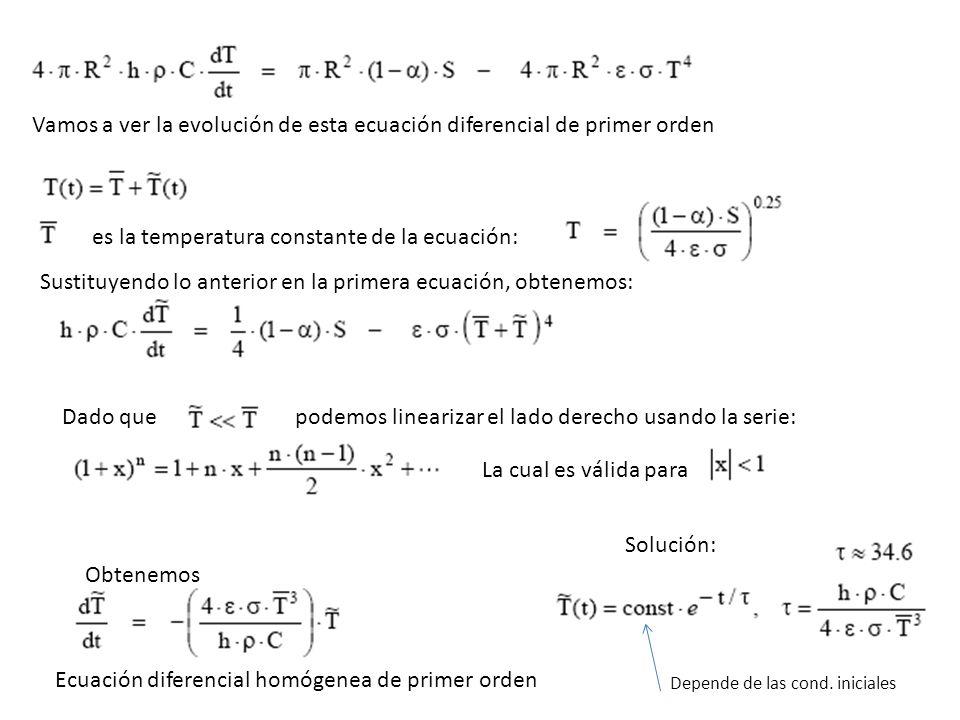 Vamos a ver la evolución de esta ecuación diferencial de primer orden es la temperatura constante de la ecuación: Sustituyendo lo anterior en la prime