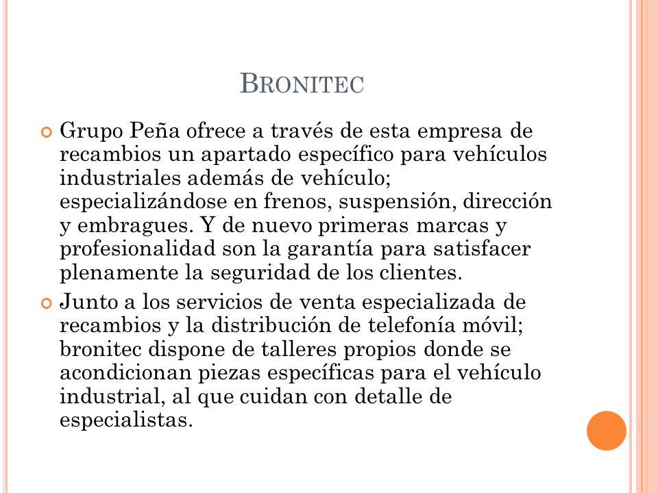 B RONITEC Grupo Peña ofrece a través de esta empresa de recambios un apartado específico para vehículos industriales además de vehículo; especializánd