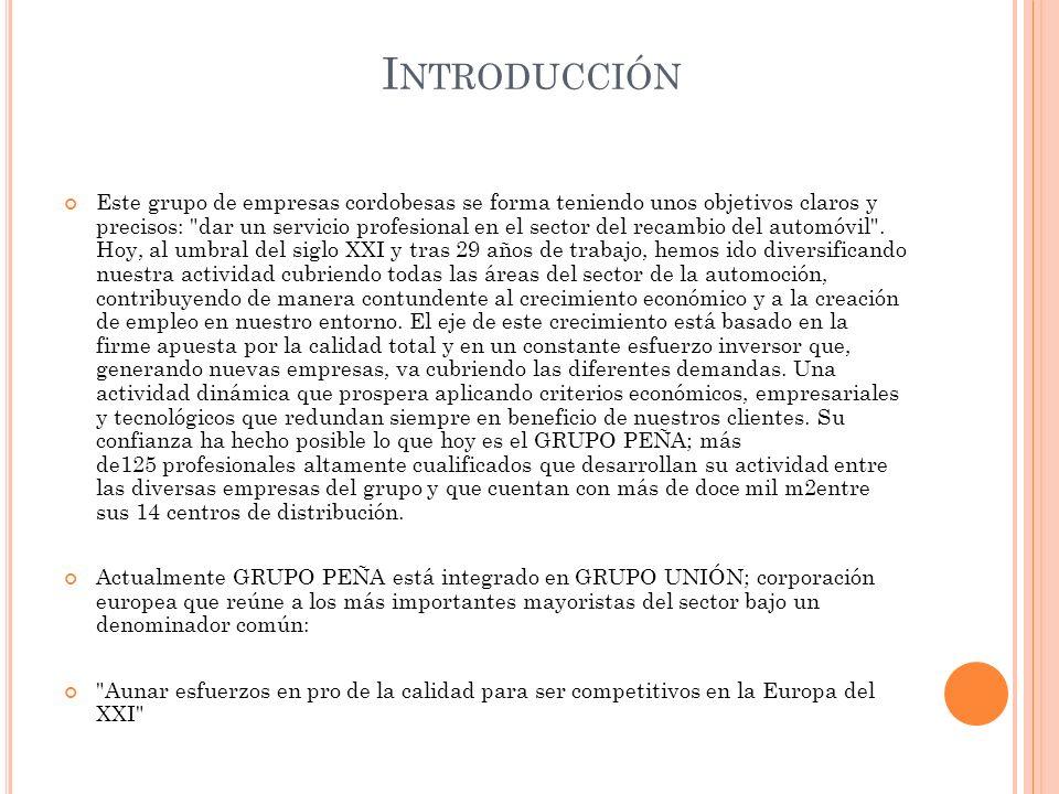 ANALISIS DESCRIPTIVO HISTORIA ACTIVIDADES MISIÓN Y VISIÓN LOGOTIPO DE LA EMPRESA GRUPO PEÑA EN ANDALUCIA