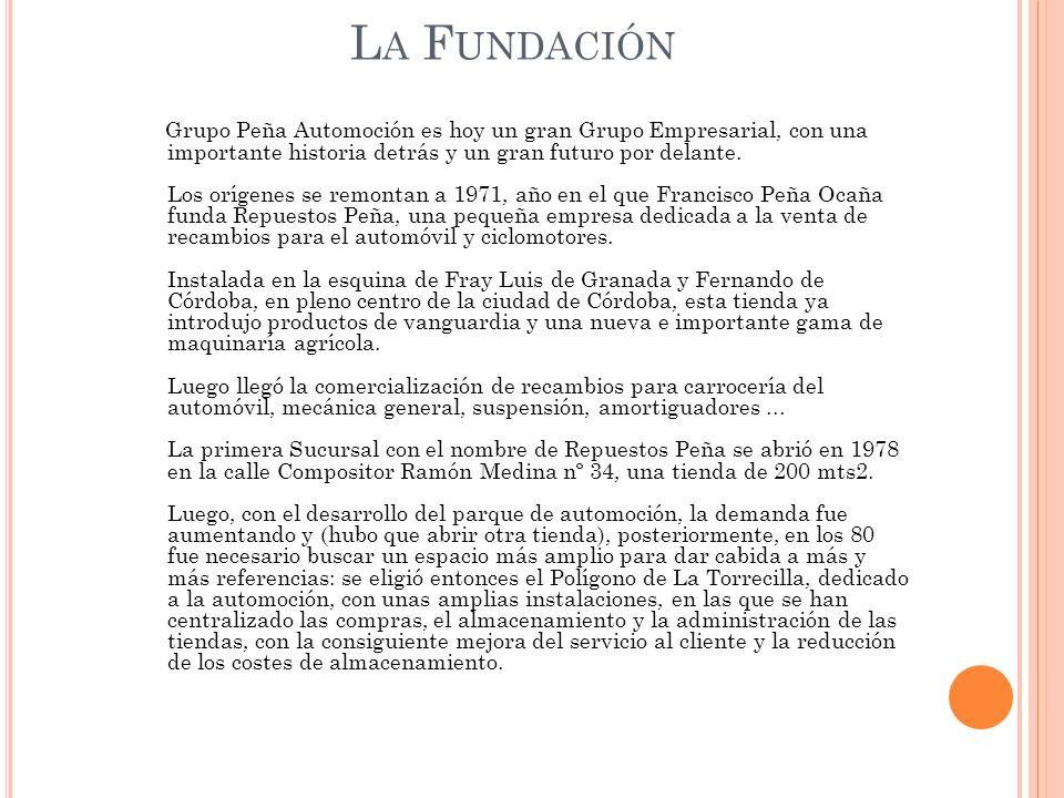 L A E VOLUCIÓN La primera Sucursal con el nombre de Repuestos Peña se abrió en 1978 en la calle Compositor Ramón Medina nº 34, una tienda de 200 mts2.