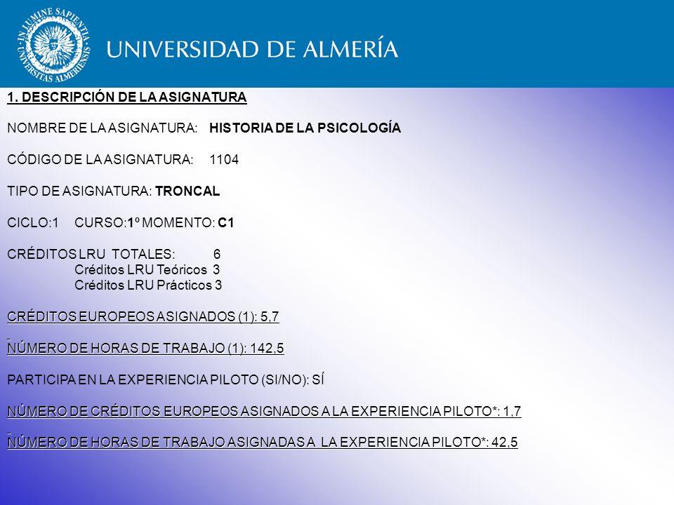 Guía Docente Historia de la Psicología Experiencia piloto de implantación del crédito europeo Universidad de Almería 1º Psicología 2004–2005 / 2005-2006