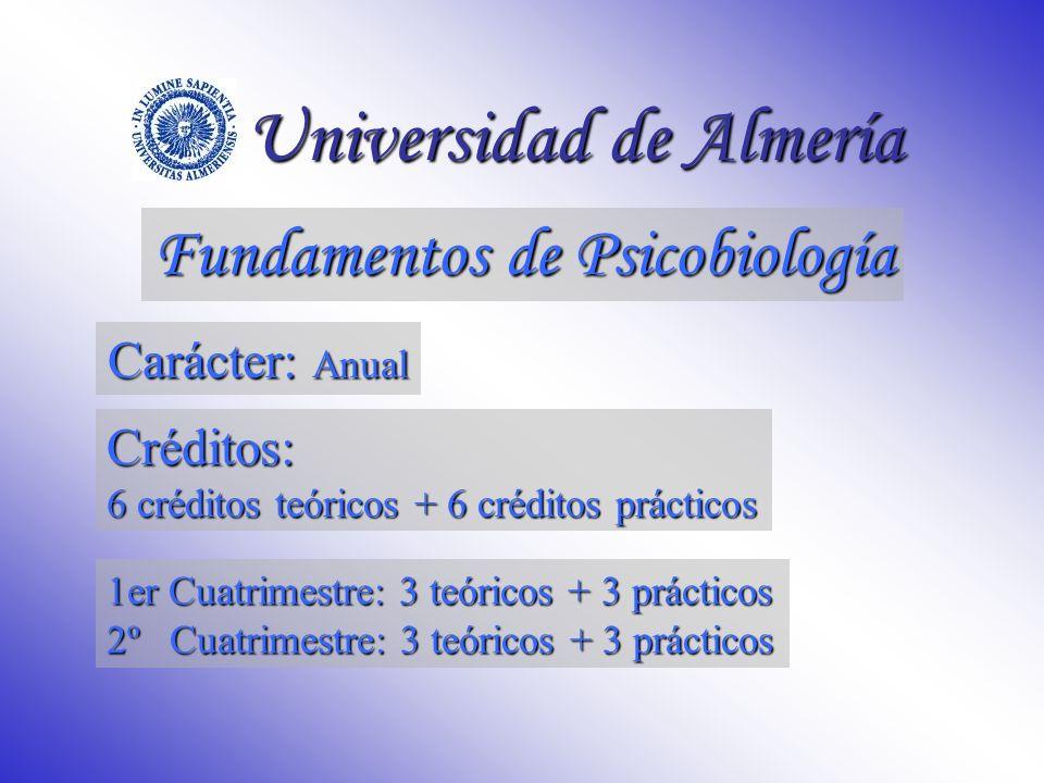 Fundamentos de Psicobiología Universidad de Almería Profesorado: M.