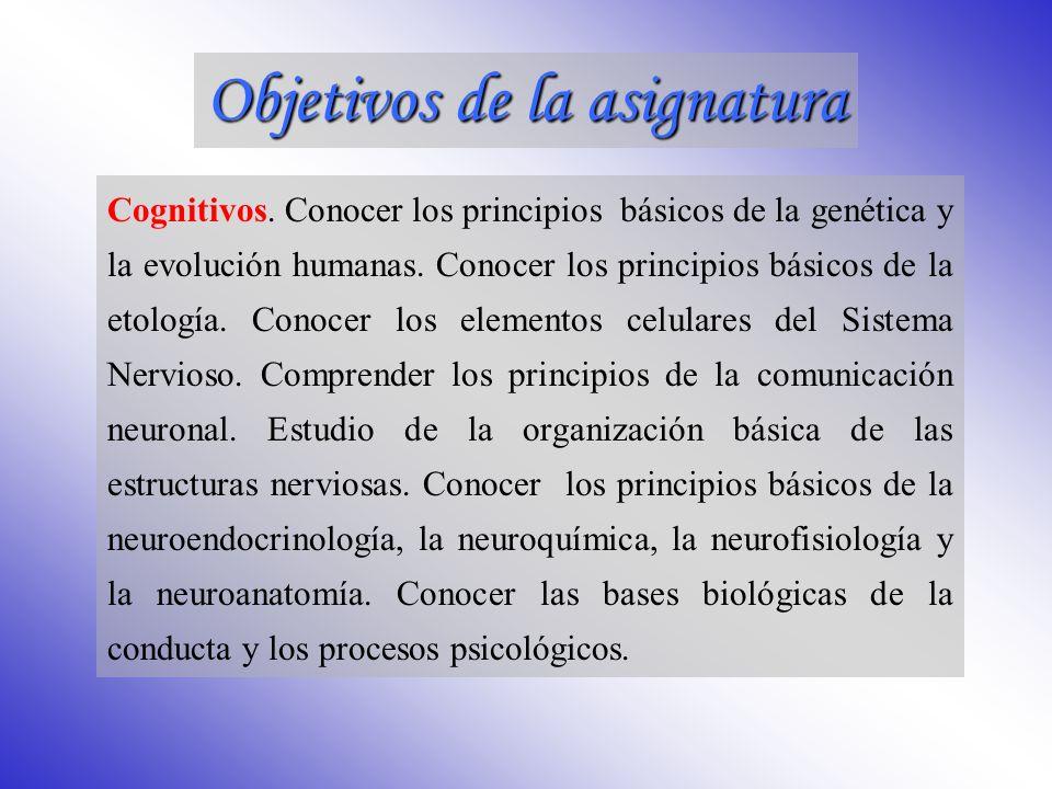 Fundamentos de Psicobiología Créditos: 6 créditos teóricos + 6 créditos prácticos Carácter: Anual 1er Cuatrimestre: 3 teóricos + 3 prácticos 2º Cuatrimestre: 3 teóricos + 3 prácticos Universidad de Almería