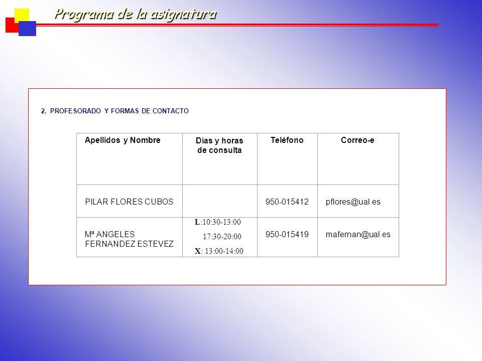 Programa de la asignatura GUÍA DE LA TITULACIÓN DE PSICOLOGÍA 1.