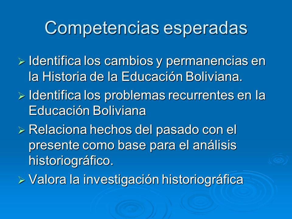 Competencias esperadas Identifica los cambios y permanencias en la Historia de la Educación Boliviana. Identifica los cambios y permanencias en la His