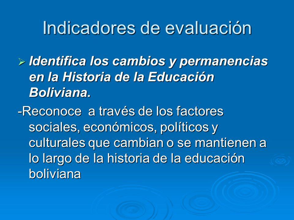 Indicadores de evaluación Identifica los cambios y permanencias en la Historia de la Educación Boliviana. Identifica los cambios y permanencias en la