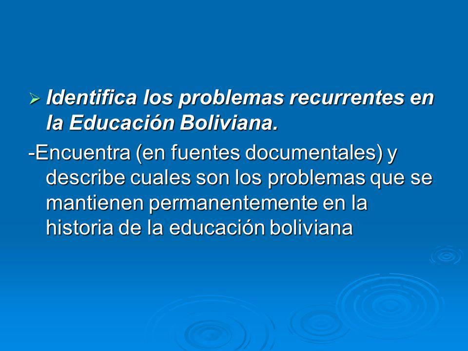 Identifica los problemas recurrentes en la Educación Boliviana. Identifica los problemas recurrentes en la Educación Boliviana. -Encuentra (en fuentes