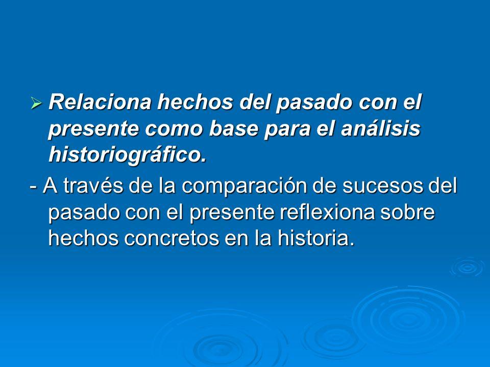 Relaciona hechos del pasado con el presente como base para el análisis historiográfico. Relaciona hechos del pasado con el presente como base para el