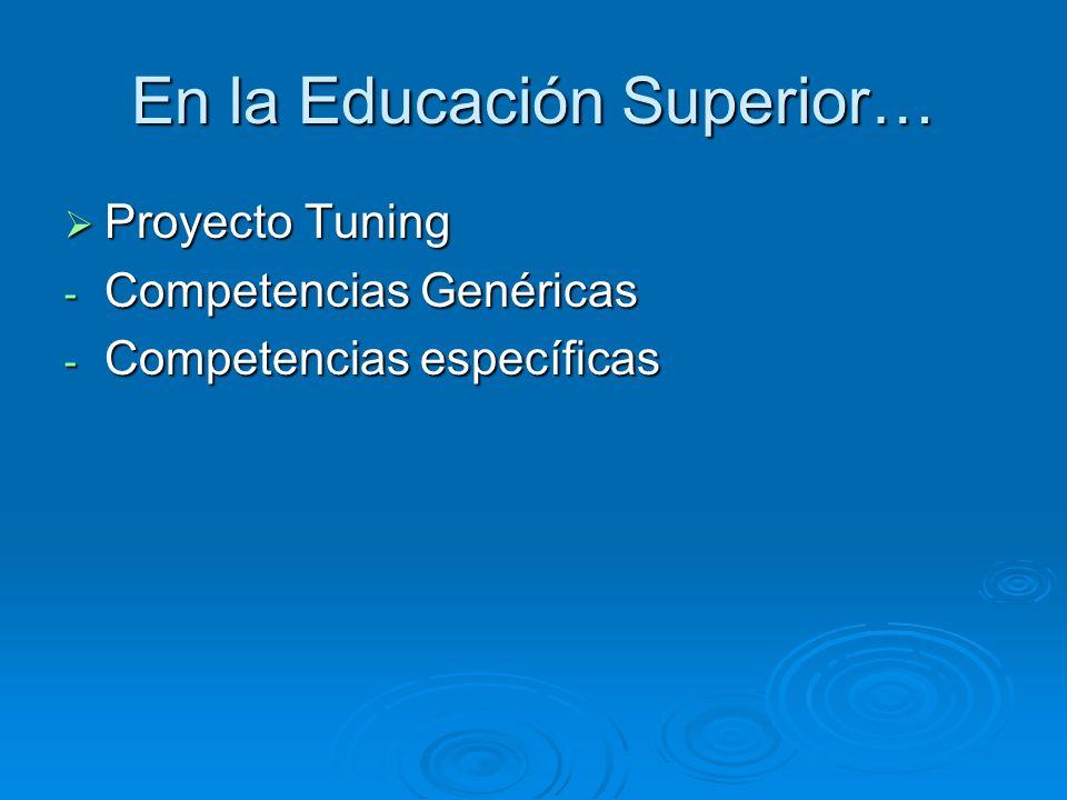 En la Educación Superior… Proyecto Tuning Proyecto Tuning - Competencias Genéricas - Competencias específicas