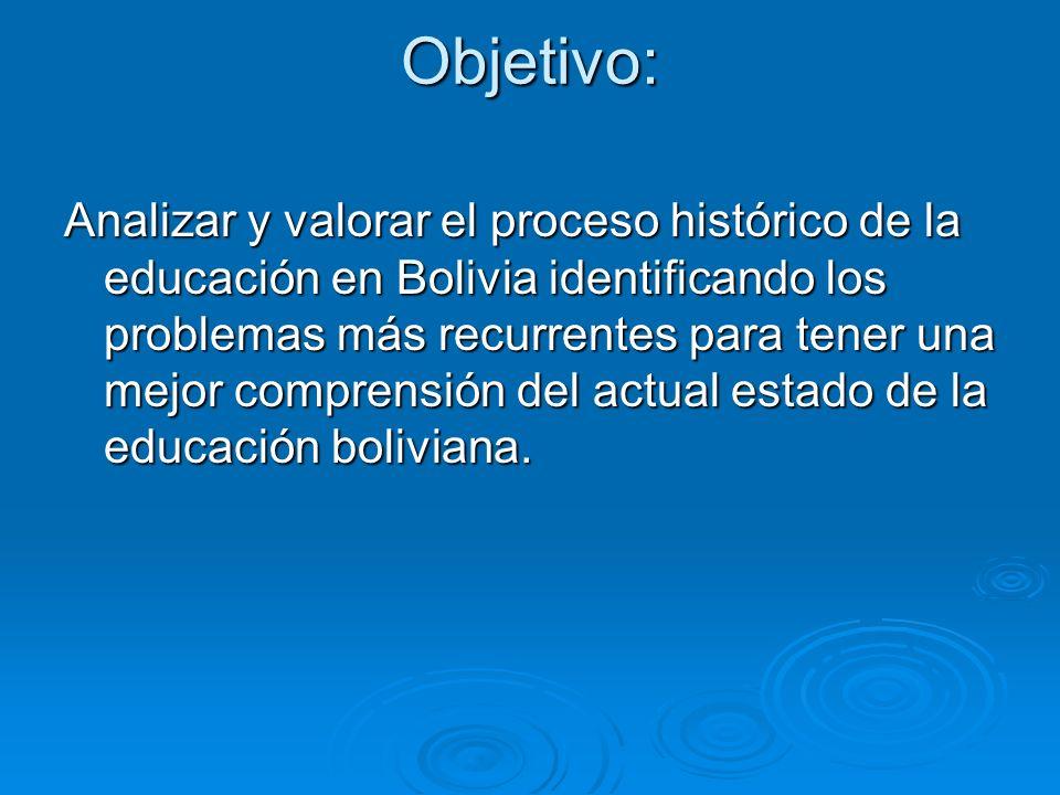 Objetivo: Analizar y valorar el proceso histórico de la educación en Bolivia identificando los problemas más recurrentes para tener una mejor comprens
