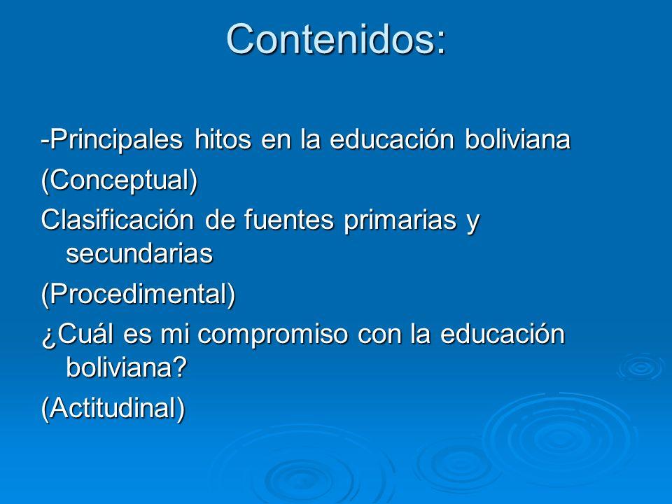 Contenidos: -Principales hitos en la educación boliviana (Conceptual) Clasificación de fuentes primarias y secundarias (Procedimental) ¿Cuál es mi com