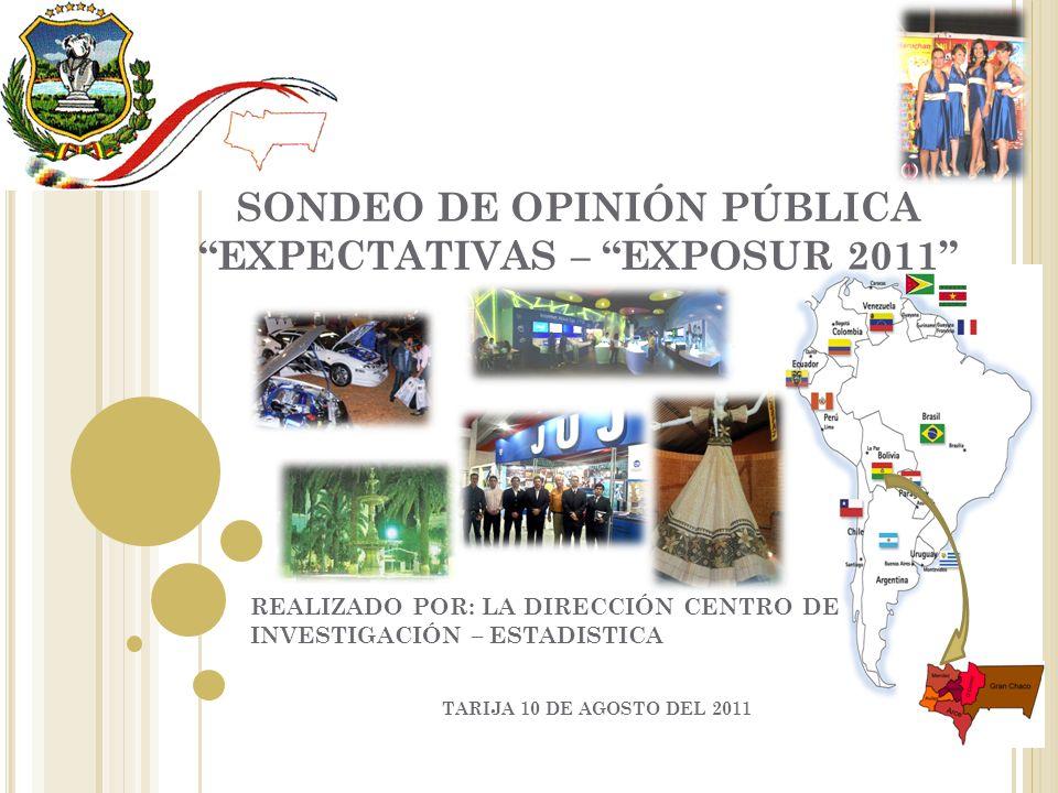 SONDEO DE OPINIÓN PÚBLICA EXPECTATIVAS – EXPOSUR 2011 REALIZADO POR: LA DIRECCIÓN CENTRO DE INVESTIGACIÓN – ESTADISTICA TARIJA 10 DE AGOSTO DEL 2011