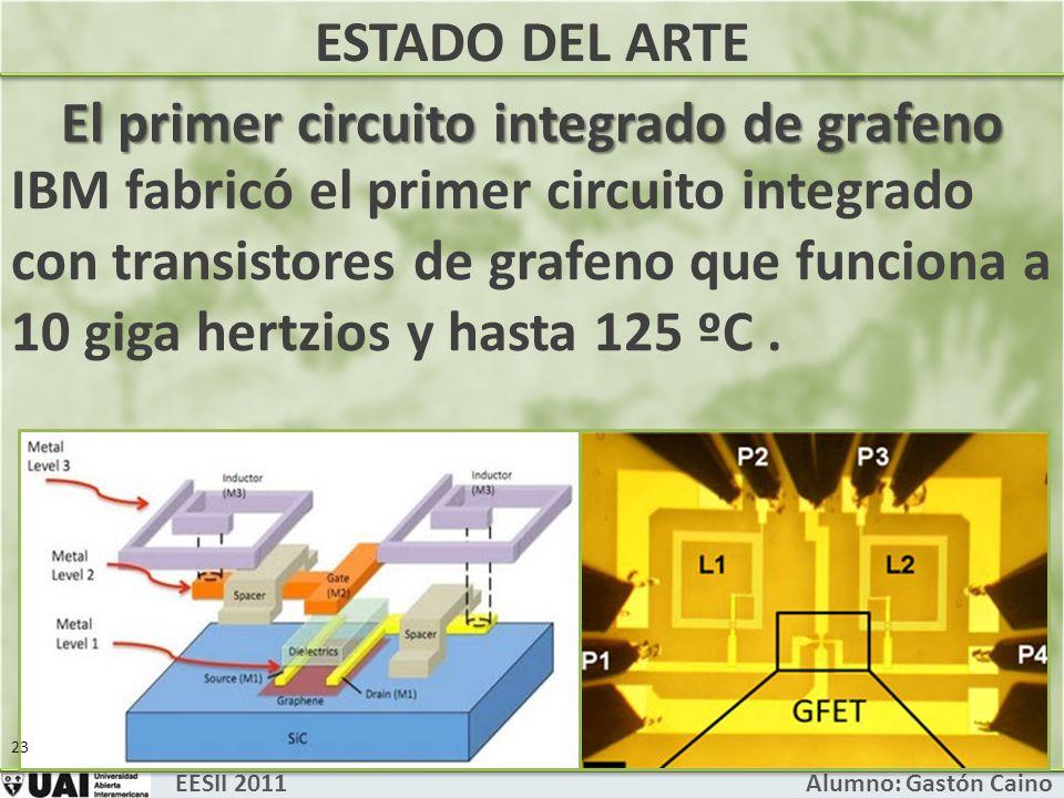 EESII 2011 Alumno: Gastón Caino El primer circuito integrado de grafeno ESTADO DEL ARTE IBM fabricó el primer circuito integrado con transistores de grafeno que funciona a 10 giga hertzios y hasta 125 ºC.
