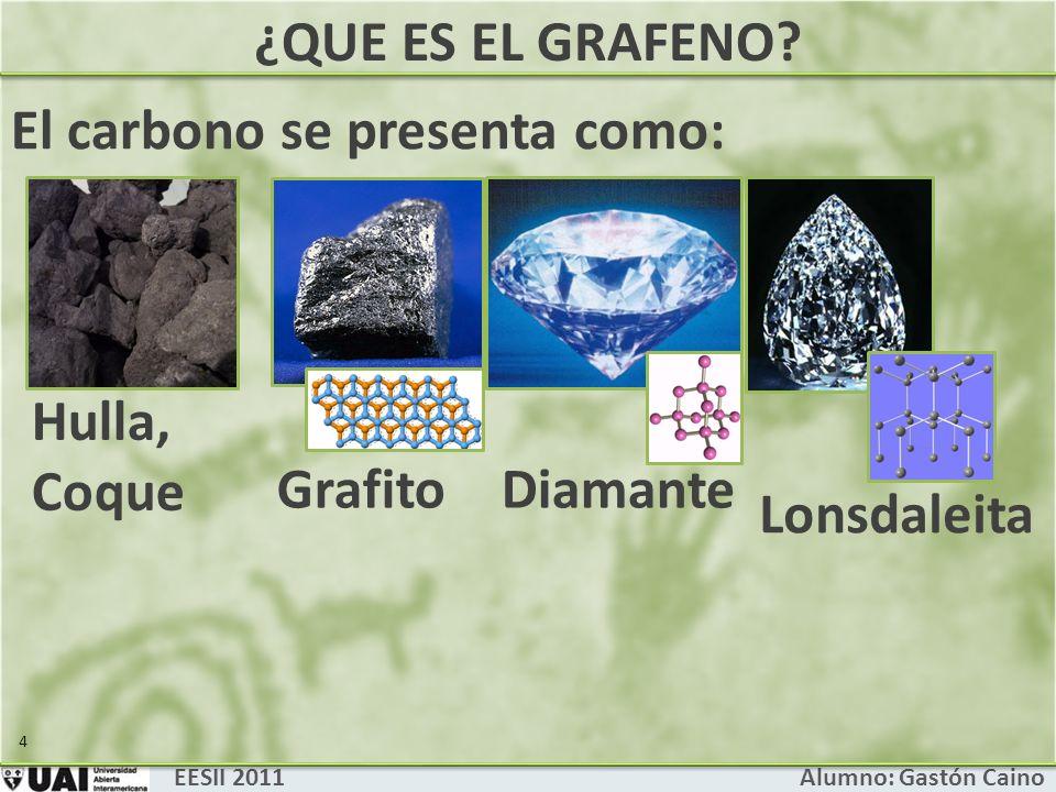 ¿QUE ES EL GRAFENO? EESII 2011 Alumno: Gastón Caino El carbono se presenta como: 5