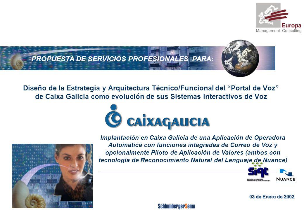 Página 11 RAZONES Y OPORTUNIDAD DE NUESTRA COLABORACIÓN Caixa Galicia no es ajena a las distintas posibilidades funcionales y de servicio que depara el mercado en torno a los Portales de Voz No obstante, Caixa Galicia no es ajena a las distintas posibilidades funcionales y de servicio que depara el mercado en torno a los Portales de Voz (prestación de servicios en propiedad, modo ASP, desarrollo propio vs integradores del mercado, funciones de negocio y/o de información, para clientes / no clientes,...), y del mismo modo las distintas alternativas tecnológicas que existen.