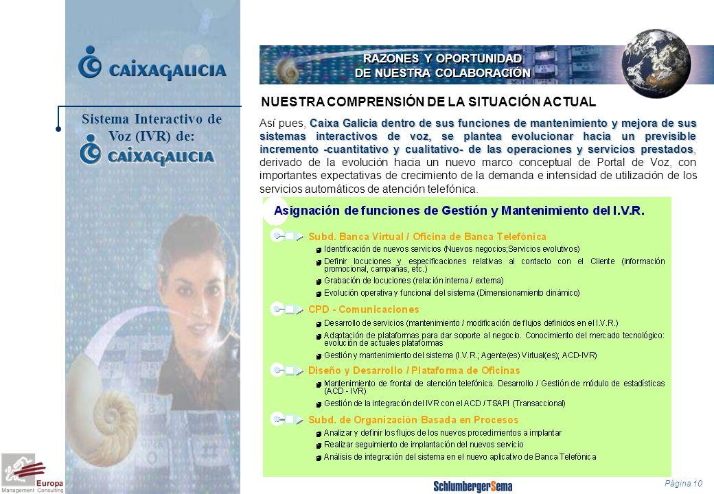 Página 10 RAZONES Y OPORTUNIDAD DE NUESTRA COLABORACIÓN Caixa Galicia dentro de sus funciones de mantenimiento y mejora de sus sistemas interactivos d