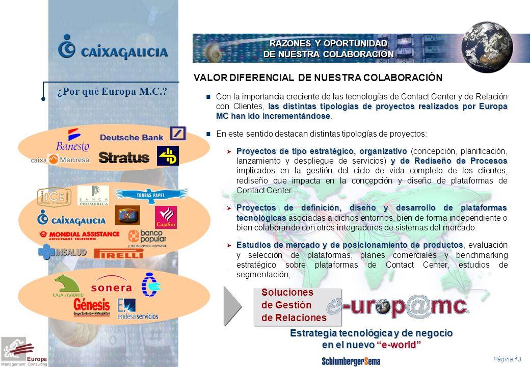 Página 13 RAZONES Y OPORTUNIDAD DE NUESTRA COLABORACIÓN las distintas tipologías de proyectos realizados por Europa MC han ido incrementándose Con la
