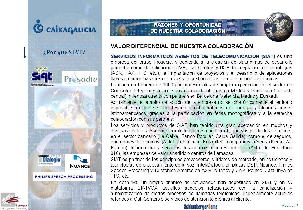Página 14 RAZONES Y OPORTUNIDAD DE NUESTRA COLABORACIÓN SERVICIOS INFORMATCOS ABIERTOS DE TELECOMUNICACION (SIAT) SERVICIOS INFORMATCOS ABIERTOS DE TE