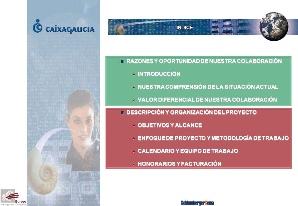 RAZONES Y OPORTUNIDAD DE NUESTRA COLABORACIÓN RAZONES Y OPORTUNIDAD DE NUESTRA COLABORACIÓN INTRODUCCIÓN INTRODUCCIÓN NUESTRA COMPRENSIÓN DE LA SITUACIÓN ACTUAL NUESTRA COMPRENSIÓN DE LA SITUACIÓN ACTUAL VALOR DIFERENCIAL DE NUESTRA COLABORACIÓN VALOR DIFERENCIAL DE NUESTRA COLABORACIÓN DESCRIPCIÓN Y ORGANIZACIÓN DEL PROYECTO OBJETIVOS Y ALCANCE ENFOQUE DE PROYECTO Y METODOLOGÍA DE TRABAJO CALENDARIO Y EQUIPO DE TRABAJO HONORARIOS Y FACTURACIÓN ÍNDICE