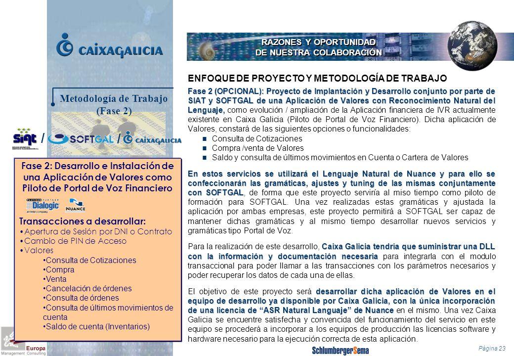 Página 23 RAZONES Y OPORTUNIDAD DE NUESTRA COLABORACIÓN Fase 2 (OPCIONAL): Proyecto de Implantación y Desarrollo conjunto por parte de SIAT y SOFTGAL