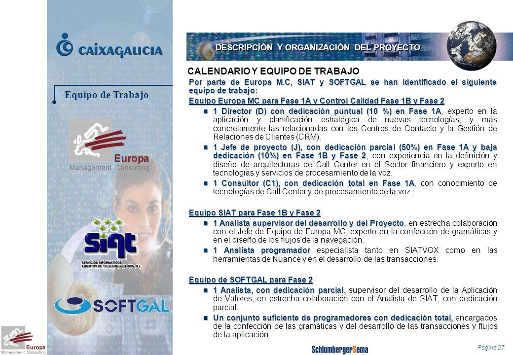 Página 27 Por parte de Europa M.C, SIAT y SOFTGAL se han identificado el siguiente equipo de trabajo: Equipo Europa MC para Fase 1A y Control Calidad