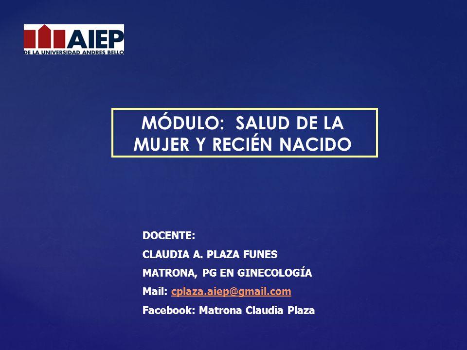 MÓDULO: SALUD DE LA MUJER Y RECIÉN NACIDO DOCENTE: CLAUDIA A. PLAZA FUNES MATRONA, PG EN GINECOLOGÍA Mail: cplaza.aiep@gmail.comcplaza.aiep@gmail.com