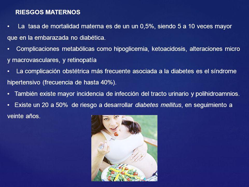 La tasa de mortalidad materna es de un un 0,5%, siendo 5 a 10 veces mayor que en la embarazada no diabética. Complicaciones metabólicas como hipoglice