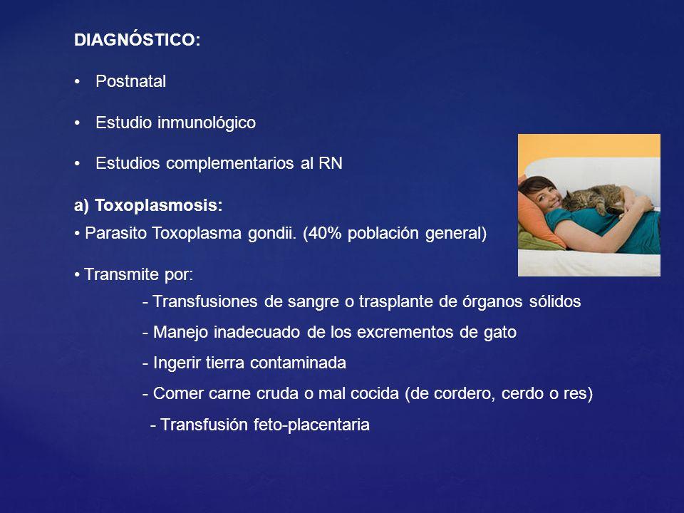 a) Toxoplasmosis: Parasito Toxoplasma gondii. (40% población general) Transmite por: - Transfusiones de sangre o trasplante de órganos sólidos - Manej