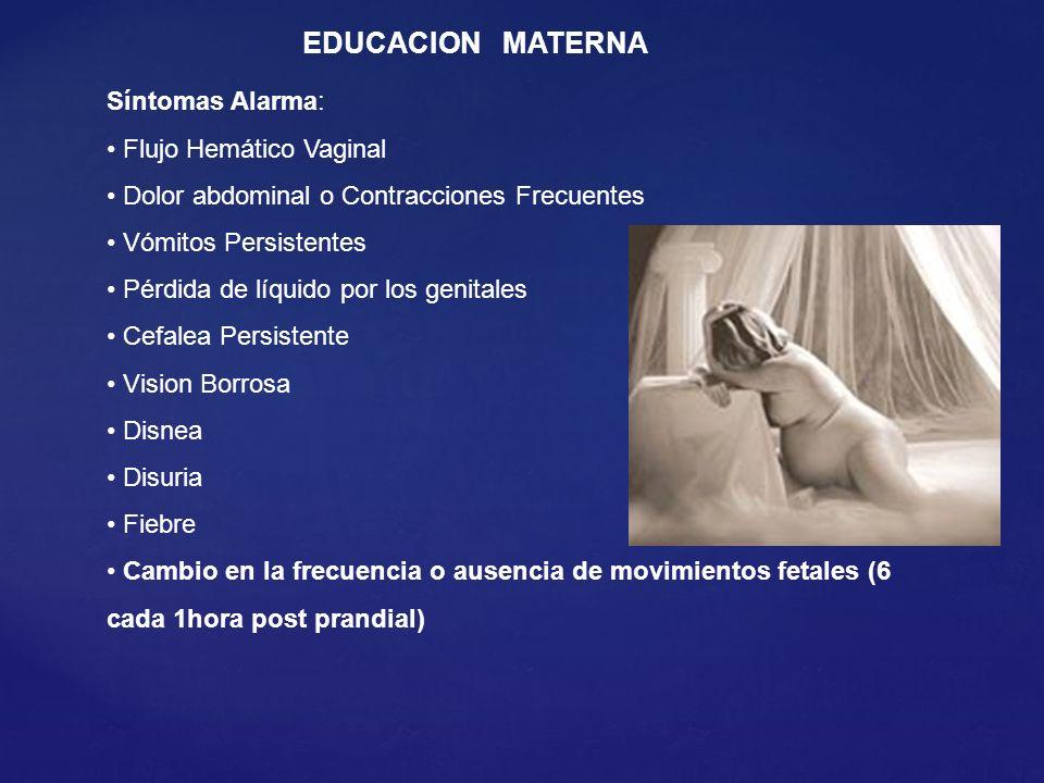 EDUCACION MATERNA Síntomas Alarma: Flujo Hemático Vaginal Dolor abdominal o Contracciones Frecuentes Vómitos Persistentes Pérdida de líquido por los g