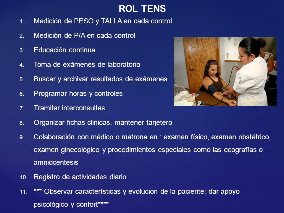 ROL TENS 1. Medición de PESO y TALLA en cada control 2. Medición de P/A en cada control 3. Educación continua 4. Toma de exámenes de laboratorio 5. Bu