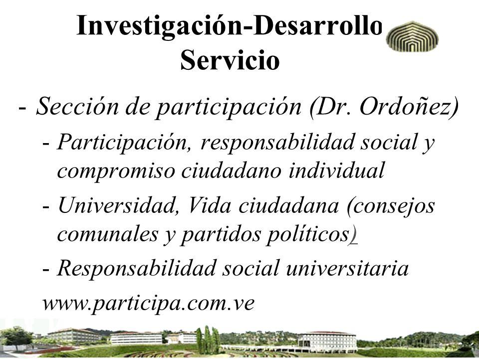 Investigación-Desarrollo Servicio -Sección de participación (Dr. Ordoñez) -Participación, responsabilidad social y compromiso ciudadano individual -Un