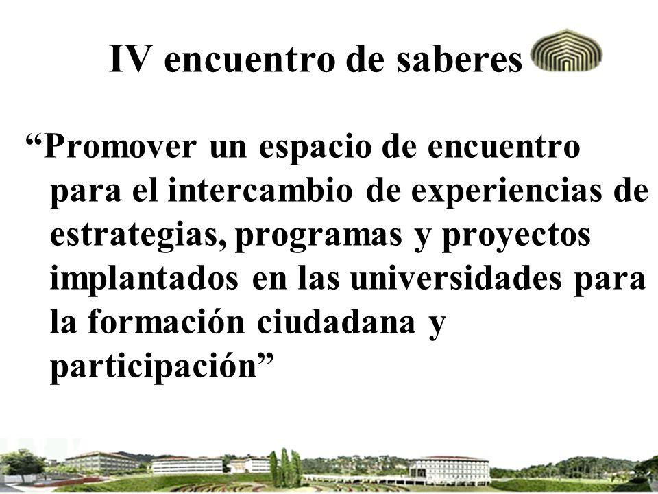 IV encuentro de saberes Promover un espacio de encuentro para el intercambio de experiencias de estrategias, programas y proyectos implantados en las