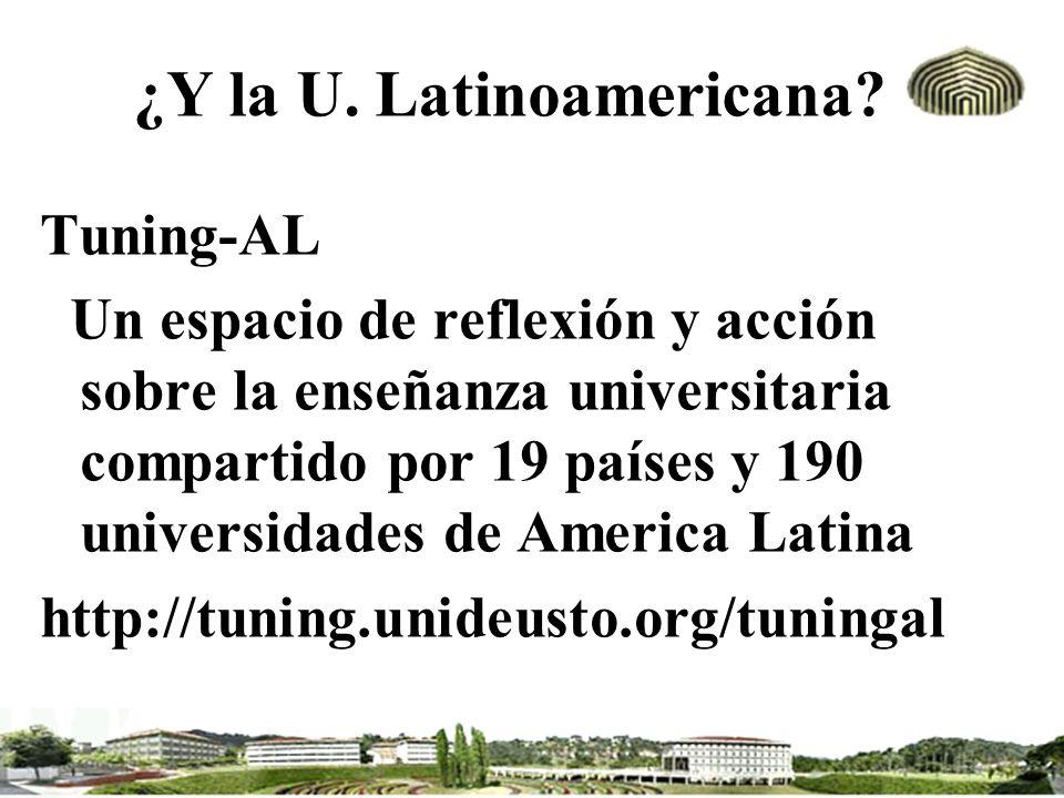 ¿Y la U. Latinoamericana? Tuning-AL Un espacio de reflexión y acción sobre la enseñanza universitaria compartido por 19 países y 190 universidades de