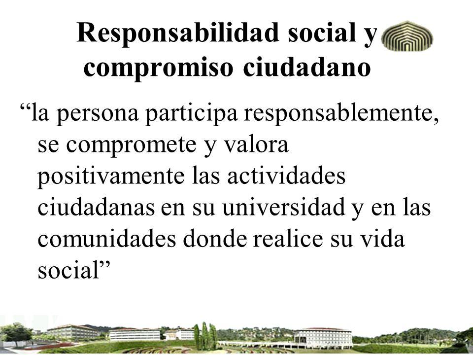 Responsabilidad social y compromiso ciudadano la persona participa responsablemente, se compromete y valora positivamente las actividades ciudadanas e