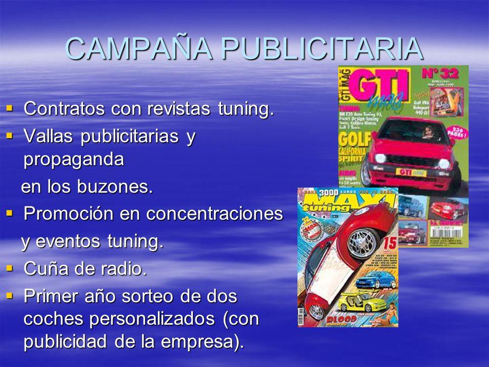 CAMPAÑA PUBLICITARIA Contratos con revistas tuning. Contratos con revistas tuning. Vallas publicitarias y propaganda Vallas publicitarias y propaganda