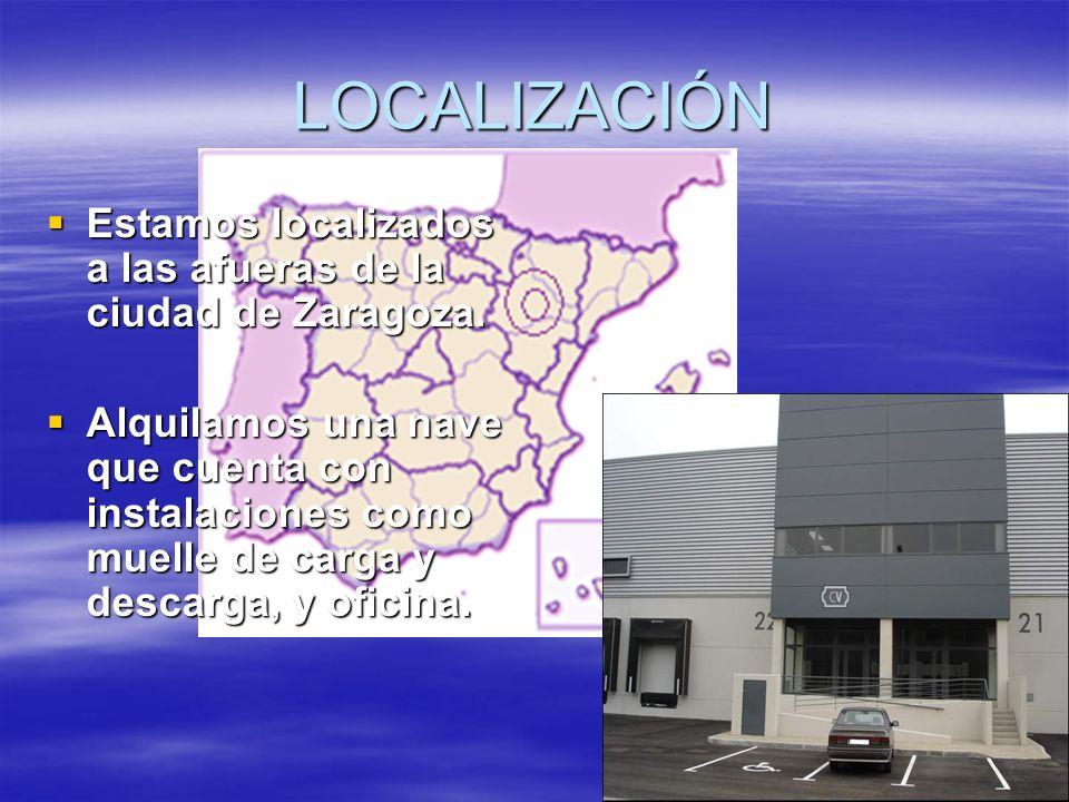 LOCALIZACIÓN Estamos localizados a las afueras de la ciudad de Zaragoza. Estamos localizados a las afueras de la ciudad de Zaragoza. Alquilamos una na