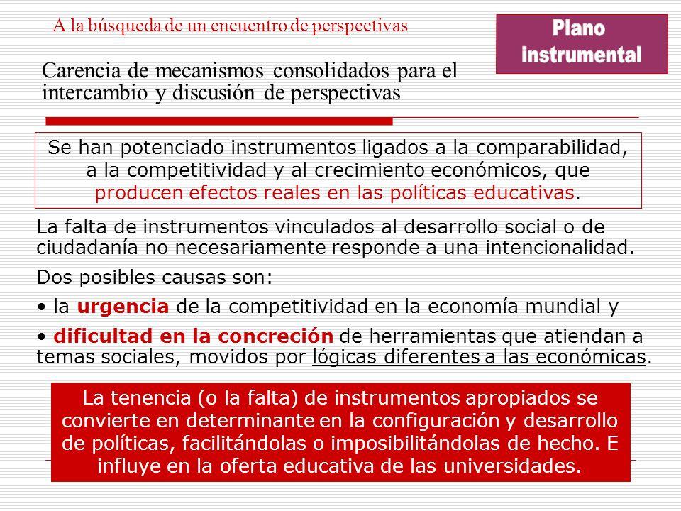 Carencia de mecanismos consolidados para el intercambio y discusión de perspectivas Se han potenciado instrumentos ligados a la comparabilidad, a la competitividad y al crecimiento económicos, que producen efectos reales en las políticas educativas.