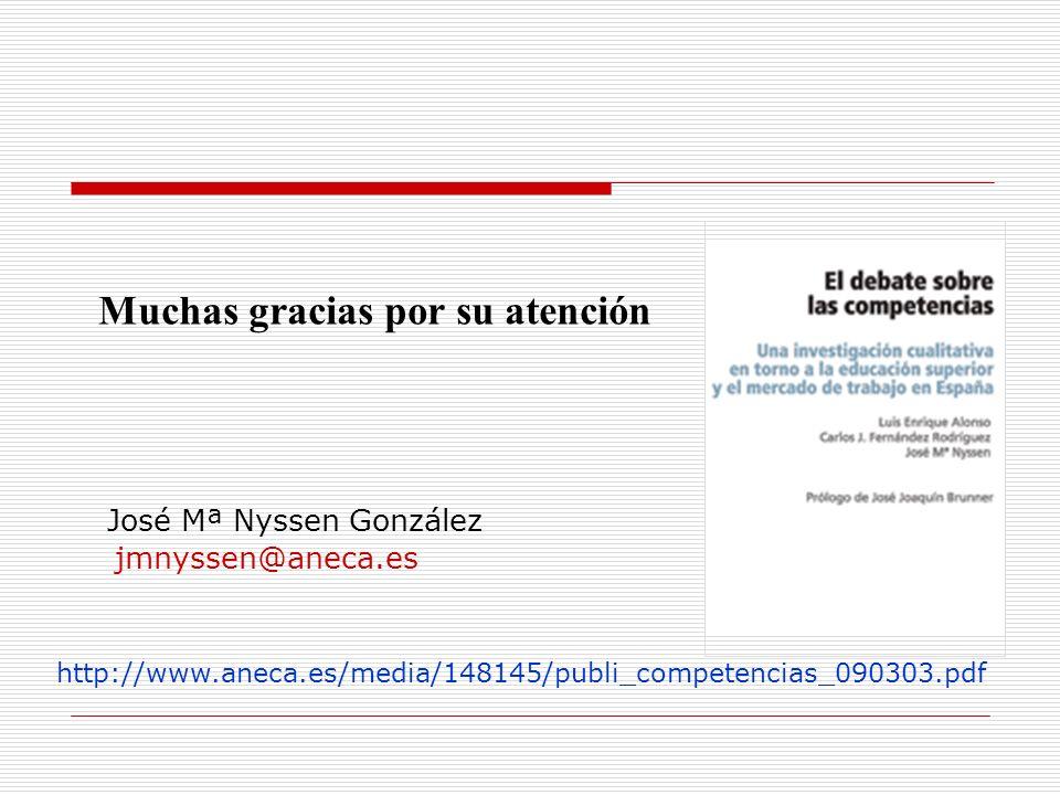 Muchas gracias por su atención jmnyssen@aneca.es José Mª Nyssen González http://www.aneca.es/media/148145/publi_competencias_090303.pdf