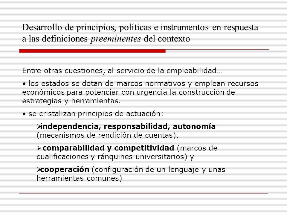 Desarrollo de principios, políticas e instrumentos en respuesta a las definiciones preeminentes del contexto Entre otras cuestiones, al servicio de la empleabilidad… los estados se dotan de marcos normativos y emplean recursos económicos para potenciar con urgencia la construcción de estrategias y herramientas.