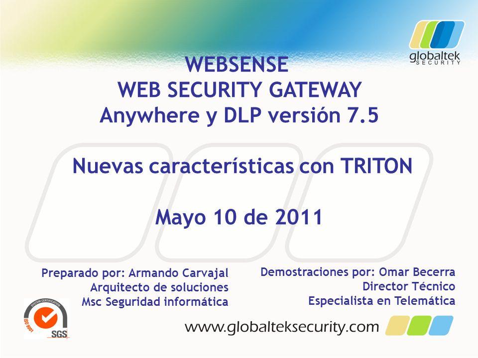 WEBSENSE WEB SECURITY GATEWAY Anywhere y DLP versión 7.5 Nuevas características con TRITON Mayo 10 de 2011 Preparado por: Armando Carvajal Arquitecto