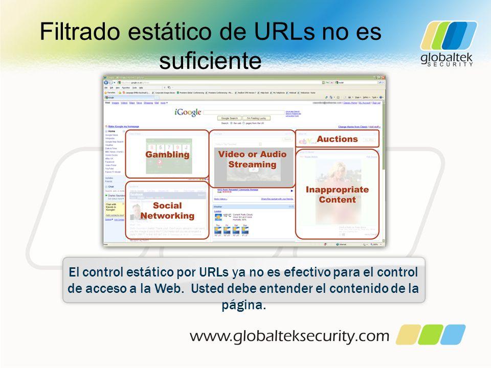 Filtrado estático de URLs no es suficiente El control estático por URLs ya no es efectivo para el control de acceso a la Web. Usted debe entender el c