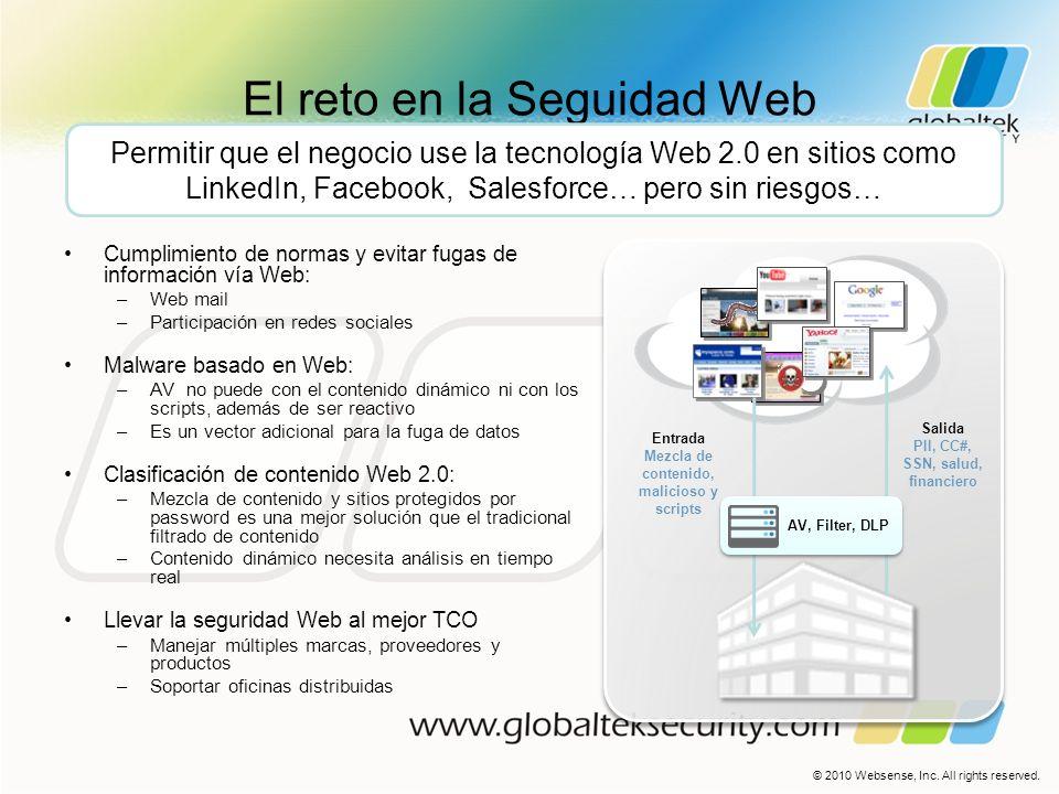 El reto en la Seguidad Web Cumplimiento de normas y evitar fugas de información vía Web: –Web mail –Participación en redes sociales Malware basado en
