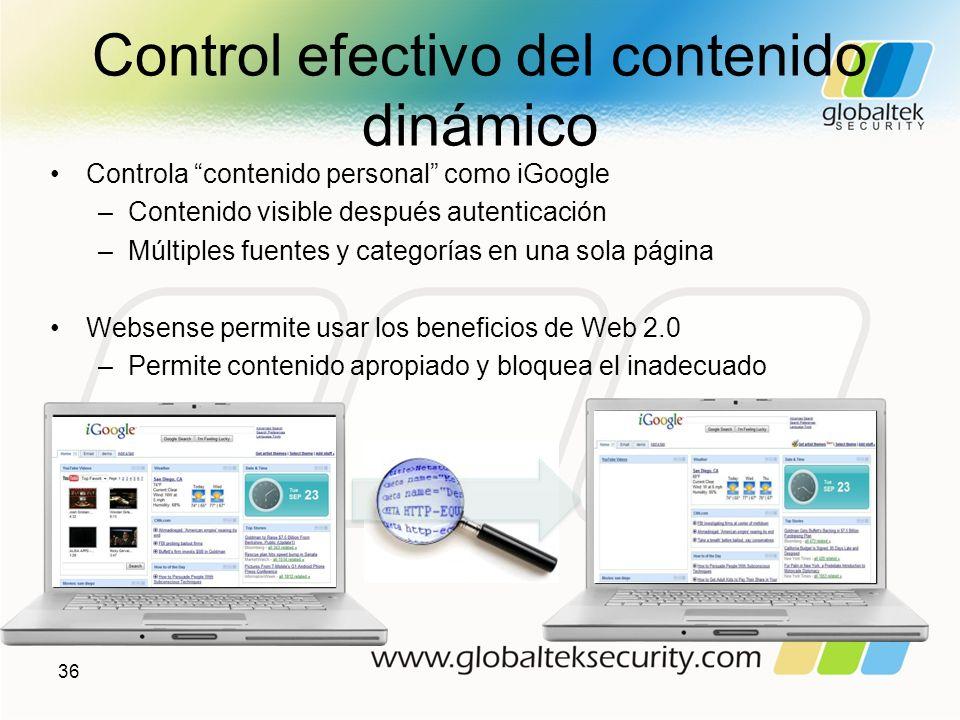 Control efectivo del contenido dinámico Controla contenido personal como iGoogle –Contenido visible después autenticación –Múltiples fuentes y categor